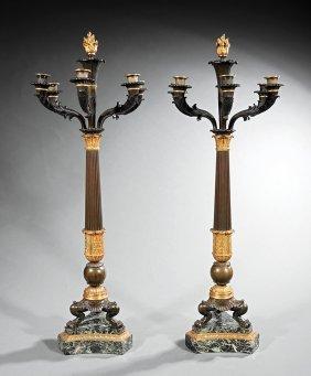 Gilt And Patinated Bronze Six-light Candelabra