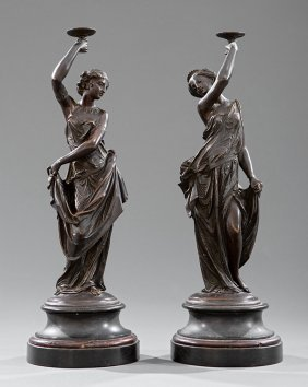 Neoclassical-style Patinated Bronze Figures