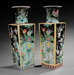 Pair Of Chinese Famille Noire Porcelain Vases