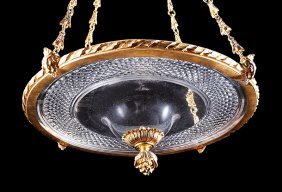 Gilt Bronze And Cut Glass Hall Lantern