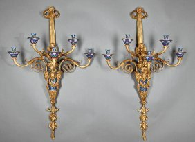 Gilt Bronze And Champleve Wall Sconces