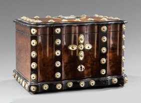 Mother-of-pearl Gilt Brass-mounted Walnut Humidor