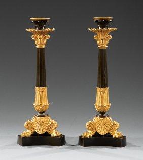Gilt And Patinated Bronze Candlesticks