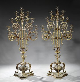 Italian Lacquered Brass Ecclesiastical Torcheres