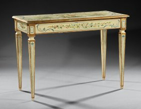 Painted And Parcel Gilt Console Tables
