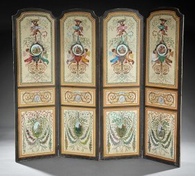Neoclassical-style Painted Four-panel Screen