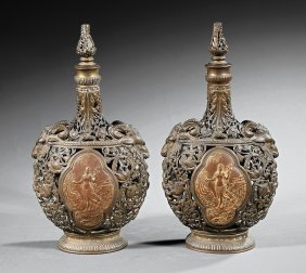 Continental Reticulated Bronze Moon Flasks