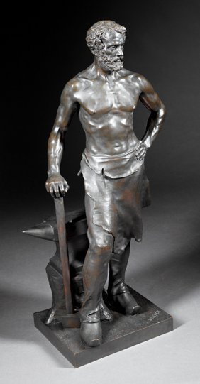 "Continental Bronze Figure Of A ""foundryman"""