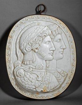 Italian Marble Double-portrait Reliefs