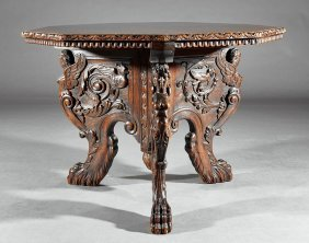 Italian Carved Walnut Center Table