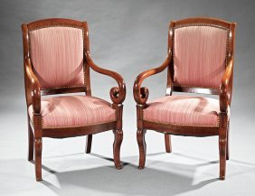 Pair Of Louis Philippe Carved Mahogany Fauteuils