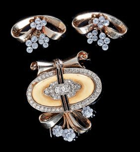 Gold, Platinum And Diamond Clip & Earrings