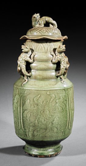 Chinese Celadon Stoneware Covered Jar