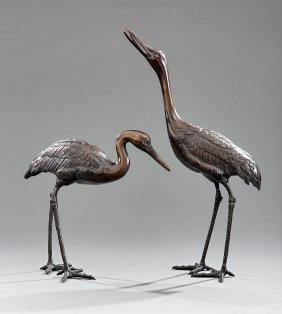 Pair Of Asian Bronze Cranes