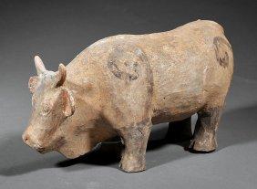 Chinese Painted Pottery Buffalo
