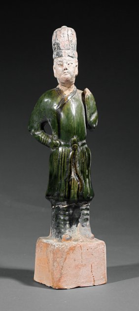 Chinese Partial Glazed Pottery Groom