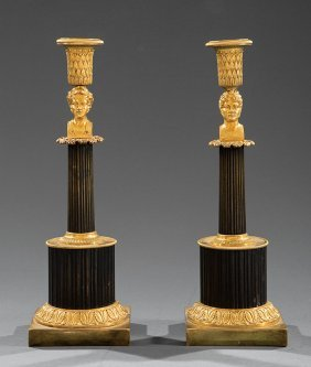 Gilt And Patinated Bronze Candlesticks
