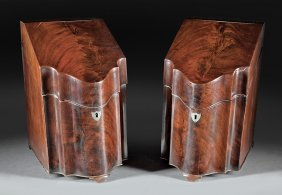 George Iii Mahogany Serpentine Knife Boxes