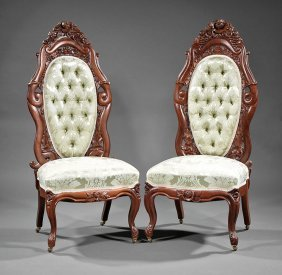 Rosewood Slipper Chairs, Attr. Belter