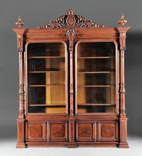 """Walnut Bookcase, Labeled """"moore, York & Howell"""""""