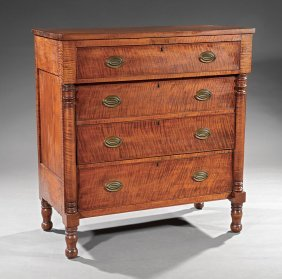 American Sheraton Tiger Maple Chest Of Drawers