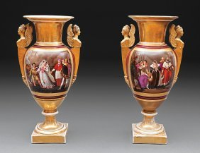 Pair Of Paris Porcelain Amphora Vases