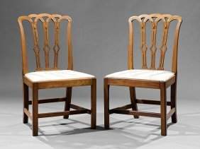 Pair Of Hepplewhite Carved Mahogany Side Chairs