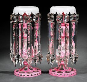 Bohemian Pink, White Double Overlay Glass Lusters
