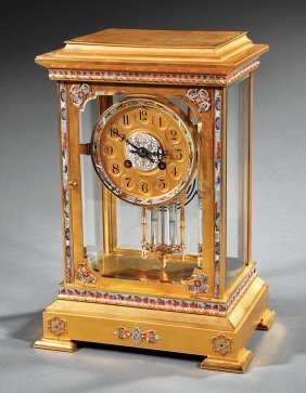 French Brass And Champleve Enamel Carriage Clock