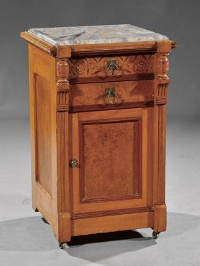 Carved And Burled Maple Bedside Commode