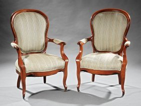 Pair Of Louis Philippe-style Walnut Armchairs