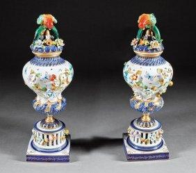 Decorative Gilt, Polychrome Porcelain Lidded Urns