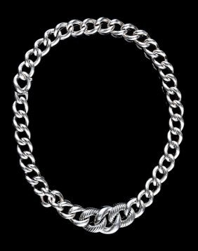 David Yurman Sterling Silver Curb Chain Necklace
