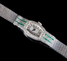 Swiss Glycine Platinum, Diamond, Emeral Watch