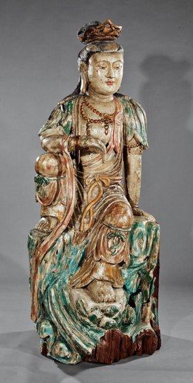 Massive Chinese Polychrome Wood Bodhisattva