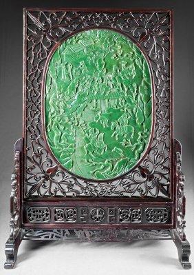 Chinese Green Jade Inset Hardwood Table Screen