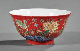 Chinese Famille Rose Decorated Red Porcelain Bowl