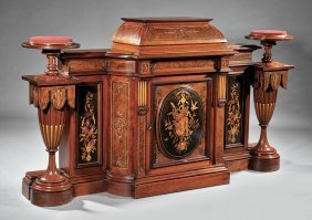 Walnut Cabinet And Pedestals, Attr. Thomas Brooks