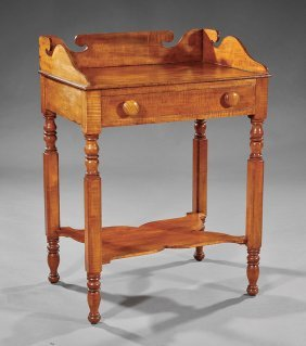 American Late Federal Curly Maple Washstand