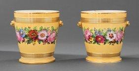 Pair Of Paris Porcelain Cachepots On Stands