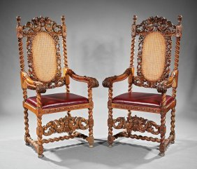 Jacobean-style Carved Walnut And Caned Armchairs