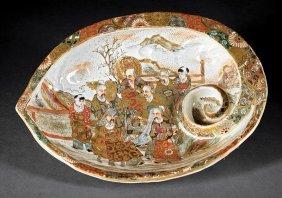 Japanese Satsuma Pottery Shell-form Bowl