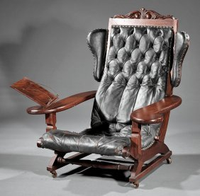American Carved Walnut Reading Chair