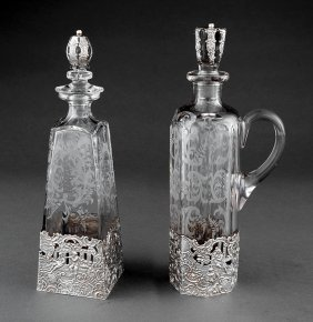 Sterling Silver-mounted Etched Glass Decanters