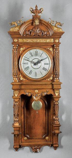 Waterbury Carved Oak Eight-day Wall Clock