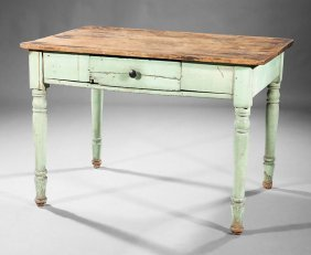 American Painted Pine And Walnut Kitchen Table