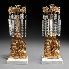 Pair Of American Gilt Brass And Marble Girandoles