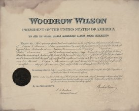 Signed Presidential Appointment - Woodrow Wilson