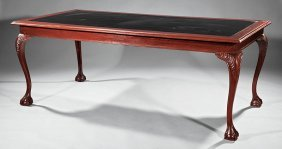 Chippendale-style Carved Mahogany Library Table