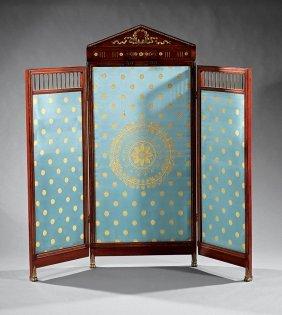Napoleon Iii Gilt Bronze-mounted Mahogany Screen